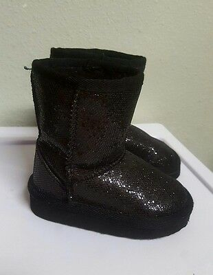 Girls Boots Black Glittery Toddler Size 5