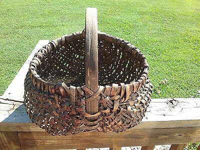 antique early oak splint basket wood gathering primitive