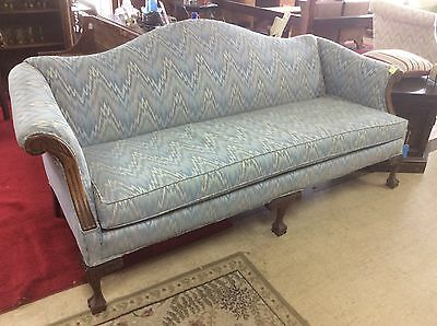 Vintage Camel Back Sofa Blue White  Sofa Hand Carved Legs