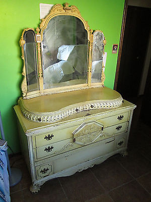 Vintage Shabby Dresser Chic Mirrors French Country Cottage Vanity Painted