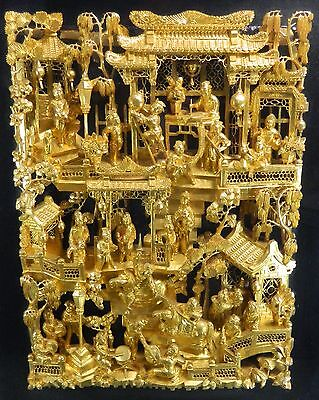 1850-1899 Chinese Hand Carved Gold Gilded Wood Screen Panel China 4 / 4