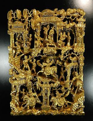 1850-1899 Chinese Hand Carved Gold Gilded Wood Screen Panel China 3 / 4