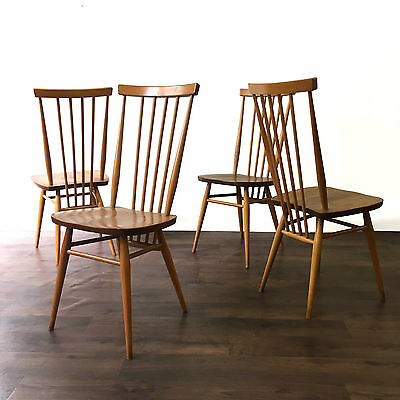 Retro Ercol Blond Stick Back Dining Chairs Vintage Mid Century