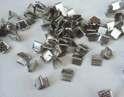 50 Platinum Silver Coloured 6mmx6mm Material Ribbon Pinch End Crimps #3723 Craft