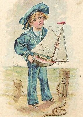 Victorian Tradecard Boy Sailor Suit Old Wood Toy Boat BRIDGEPORT CORING CONGRESS
