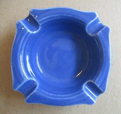 "Vernon Kilns Early California ~   ""Cobalt"" Blue Individual Square Ashtray ~ EUC"