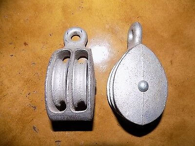 """Two Galvanized 2"""" Double Marine Pulley's Pulley Sailing, Shop Or Show."""