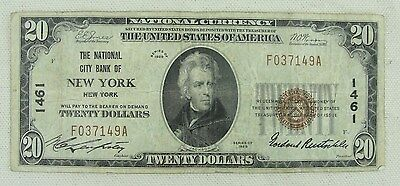 1929 20 Dollar National City Bank Of New York * Charter #1461 *