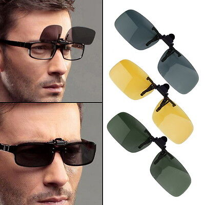 Driving Night Vision Clip-on Flip-up Lens Sunglasses Glasses Cool Eyewear PV