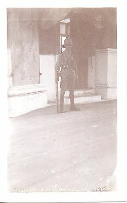 BRITISH SOLDIER PTE CASS A.I.F ON MAIN GUARD EGYPT cWW2 MILITARY POSTCARD EXC