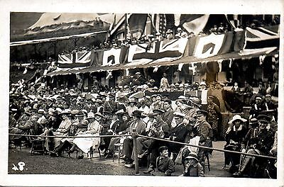BRITISH SOLDIERS IN CROWD cWW1 MILITARY POSTCARD