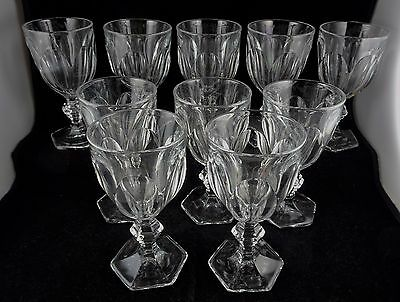 Ten Heisey Glass Puritan Colonial Claret Wine Goblets Stem # 341 Signed