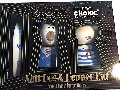 Pair Salt And Pepper Shakers Ceramic Blue & White Sailor Dog & Cat With Base,