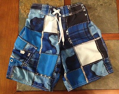 EUC Boys Joe Boxer Patchwork Blue Swim Shorts Size 6/7