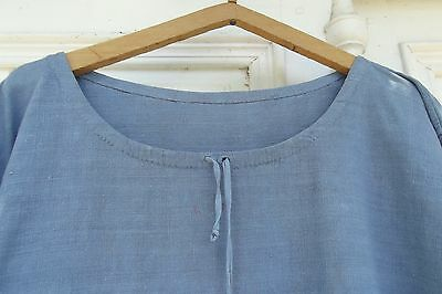 Antique Vintage French Linen Workers Shirt Smock Workwear Dress Chore Tunic woad