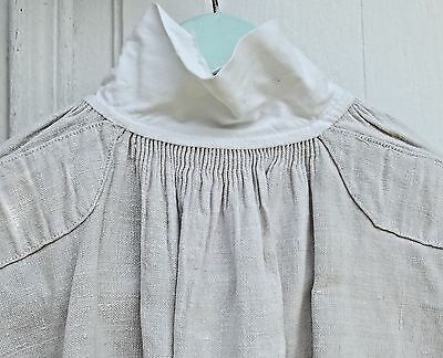 Antique French Linen Smock 19th C Chemise untreated oyster linen Gentleman shirt