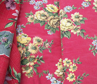 Bundle Vintage French Fabric Pieces a riot of red roses 1940s material Boussac