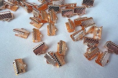 30 Copper Coloured 10mm x 8mm Ribbon Pinch End Crimps #3727 Jewellery Making