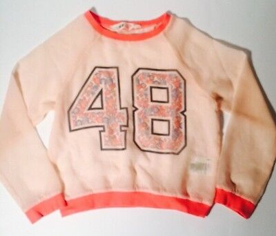H&M Girl's Pink Sheer Top Youth Long Sleeve Shirt Size 9-10