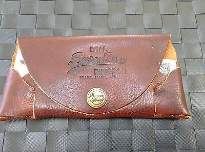 Authentic Superdry brown leather spectacle case and cloth