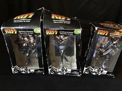 Lot of 3 KISS Christmas Ornament Figurine Merry 2010