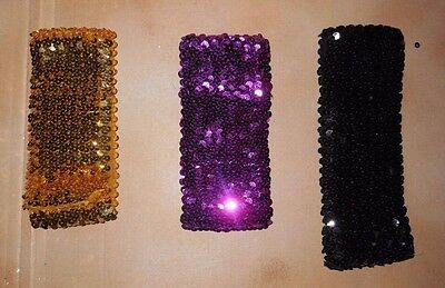 New 8 Row (3 inch wide) Flat Stretch Sequin Headband Various Colors Dance