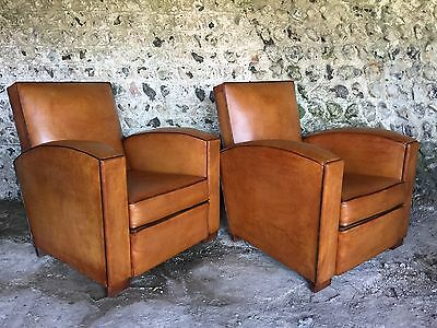 Immaculate Pair Antique Artdeco French Tan Leather Club Arm Chairs Vintage C1930