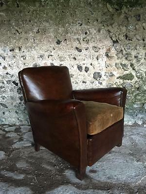 Antique French Leather Conker Club Arm Chair - Vintage C1950