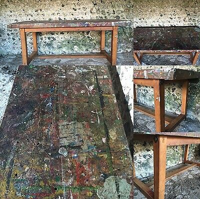 Vintage Industrial Original Painted Paint Splattered Art Table Fabulous Patina