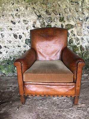Restored Antique French Caramel Tan Leather Club Arm Chair - Vintage C1950