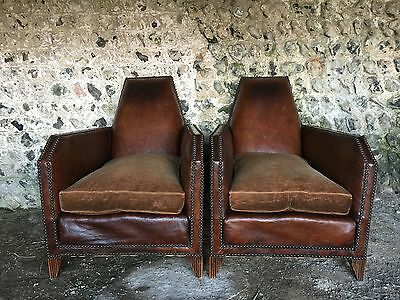 Rare Pair Antique French Art Deco Gothic Leather Club Arm Chairs Vintage C1930