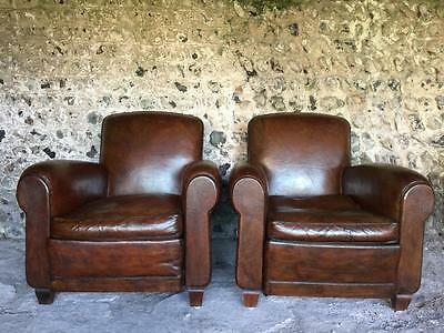 Pair Immaculate Antique French Chestnut Leather Club Arm Chairs - Vintage C1940