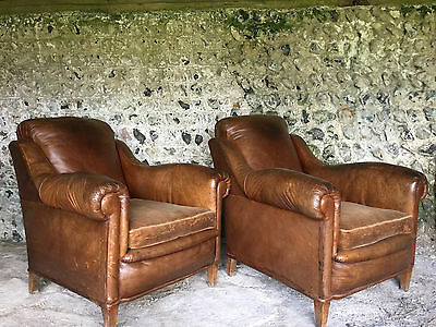 Pair Of Beautiful Grand Antique French Leather Club Arm Chairs - Vintage C1940