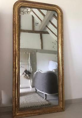 LARGE C19th ANTIQUE FRENCH EXQUISITE GILDED GILT FRAME PIER MERCURY GLASS MIRROR