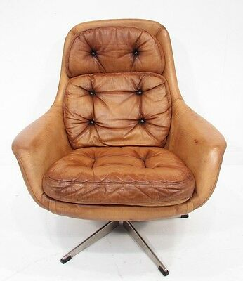 Stunning Vintage Danish Tan Egg leather Armchair C1960