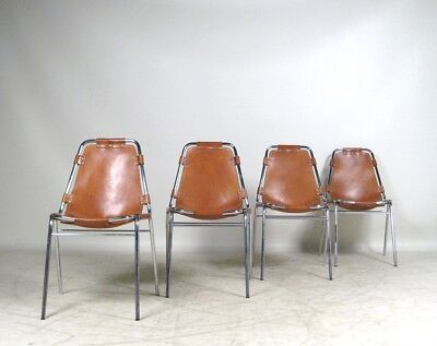 ORIGINAL RARE SET OF 4 CHARLOTTE PERRIAND LES ARCS CHAIRS C1960's LEATHER STEEL
