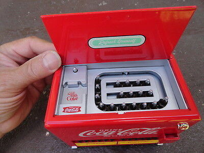 1997 Diecast Drink Coca-Cola Vending Machine Musical Cooler Coin  Bank
