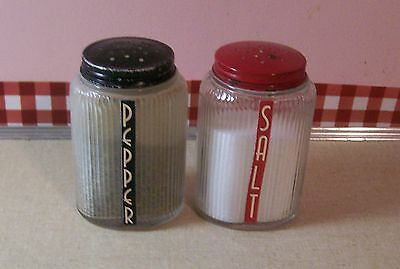 Vintage Owen's Illinois 1930's Ovoid Salt and Pepper Shakers Red and Black Lids!