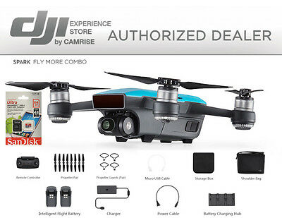 DJI Spark Fly More Combo enhanced bundle Drone Blue includes 64GB memory Card