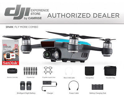 DJI Spark Fly More Combo enhanced bundle Drone Blue includes 32GB memory Card