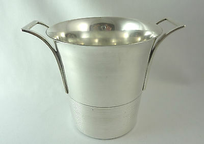French ART DECO Ice Bucket silverplated similar Christofle Luc Lanel Ondulations
