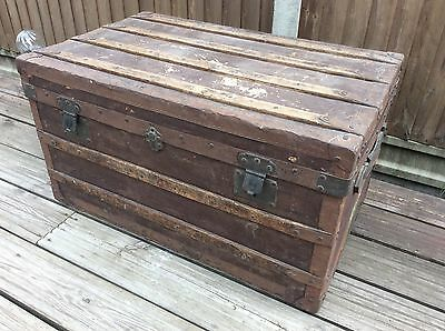 Old Vintage Luggage Steamer Trunk Chest - LP Coffee Table Blanket Box