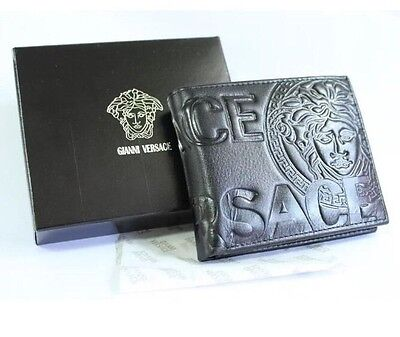 Versace Men's Black Leather Bifold Wallet With Gift Box