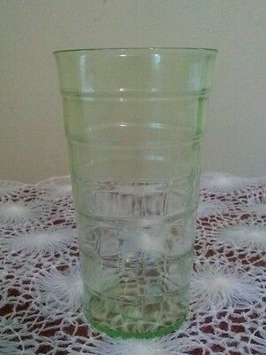 "BLOCK OPTIC, GREEN 11oz.  TUMBLER ANCHOR HOCKING GLASS COMPANY 5"" GOOD CONDITION"