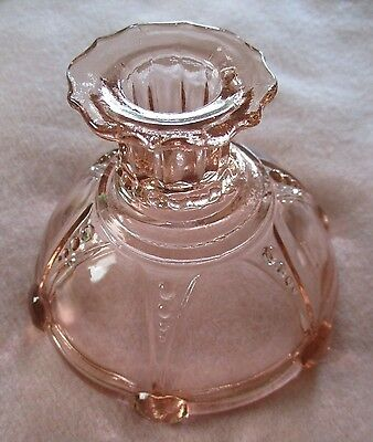 "Anchor Hocking Glass ~ Oyster And Pearl ~ 3-1/2"" Pink Candle Holder ~ Mint"