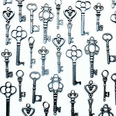 Vintage Style ANTIQUE SKELETON FURNITURE CABINET OLD LOCK KEYS Silver Lot Of 48