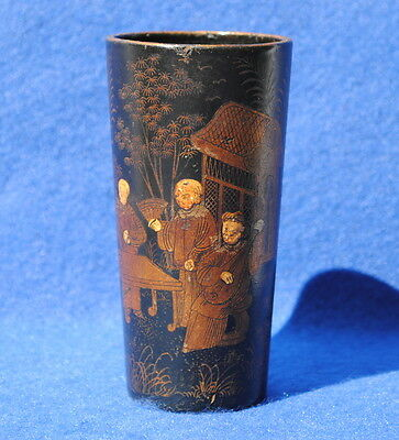 19Thc Chinese Paper Mache Brush Pot Decorated With Figures