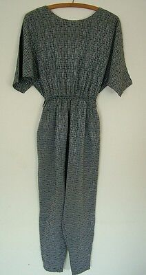 Vintage 70s 80s Richards grey batwing tie-back jumpsuit all-in-one trousers, M