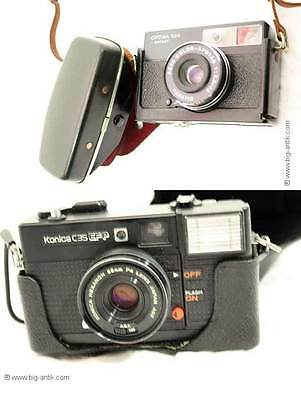 2 Alte Kameras mit Taschen / KONICA u. Agfa OPTIMA / 2 Old cameras with pockets