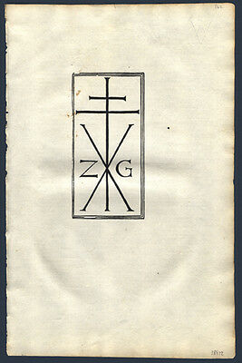 1498 Incunable Leaf The Printer's Mark St Jerome's Biblical Commentary